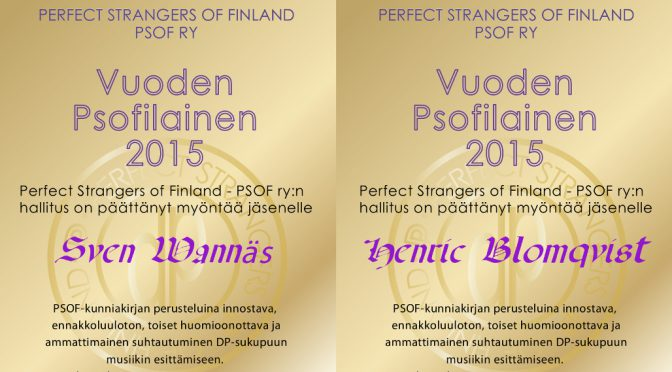 Awarded to Perfect Strangers of Finland Award 2015